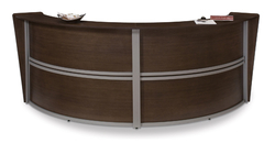 ALL LAM MARQUE ROUND RECEPTION DESK WALNUT