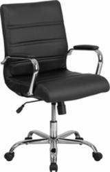 black mid-back vinyl task chair