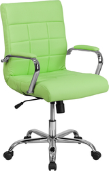 green mid-back vinyl task chair