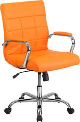 orange mid-back vinyl task chair
