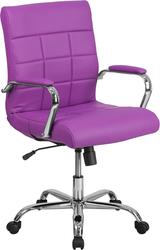 purple mid-back vinyl task chair