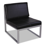 CUBE CHAIR, BLACK LEATHER WITH SILVER BASE