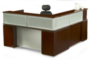 RECEPTION DESK CANYON SERIES, CONTEMPORARY WITH GLASS MODESTY PANEL