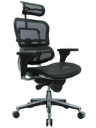 CHAIR, HIGH BACK, EXEC/TASK, WITH NECK REST, BLACK MESH,HEAD REST