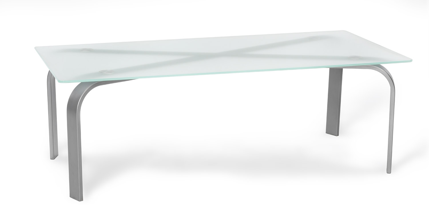 TABLE, COFFEE, 24X48 BLACK OR SILVER FRAME, FROSTED GLASS TOP ...